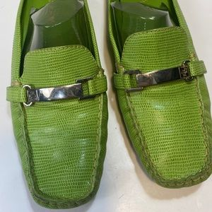 Lauren Ralph Lauren Lime Croc Slide Mule Loafers